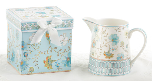 """Blue Romance 5"""" Porcelain Pitcher in Gift Box: Use a a center piece on your everyday table, kitchen counter or breakfast bar! lovely on a ladies dressing table. Part of the Blue Romance Collection.  Includes:  5"""" Porcelain Pitcher in Gift Box Blue Romance Collection Dishwasher safe  Comes in it's own matching print gift/storgae box with silk bow, can be repurposed."""