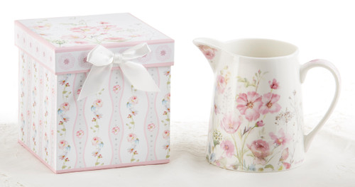 """Poppy Seed 5"""" Porcelain Pitcher in Gift Box: Use a a center piece on your everyday table, kitchen counter or breakfast bar! lovely on a ladies dressing table. Part of the Blue Romance Collection.  Includes:  5"""" Porcelain Pitcher in Gift Box Poppy Seed Collection Dishwasher safe  Comes in it's own matching print gift/storgae box with silk bow, can be repurposed."""