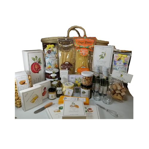 """Farmers Market Tote - Epicure Gift Basket:From Cornucopia's Epicure Shop, a showcase of gourmet specialties and gifts ideal for a grand impression appropriate for any occasion. An array of shelf-stable, cheeses, Summer Sausage, Gourmet Crackers, Mixed Nuts, Vanilla Caramel Popcorn, (by Jocelyn & Co) Specialty Pasta from Italy, and featuring the finest Bella Cucina Pesto's, Preserves & Biscotti, and Cornucopia's specialty teas.  Gift giving ideas: New Home, Anniversary, Wedding, Epicurean Foodie.  Includes:   Reusable large Farmers Market Bag 2 Stemless Champagne Flutes, 2 8.4 oz Sparkling Apple Cider, Gold Medal Martinelli's Mini Cheese Spreader, Cocktail Napkins, 20 ct. Lemon Tree print 2 -1 oz Loose Leaf Teas, by The Cornucopia Tea Shop Violet Macaroon, (Black tea (76 %), apple pieces, sliced almonds, flavoring, mallow blossoms, freeze-dried yoghurt granules (skimmed milk yogurt, sugar, maltodextrin, modified starch, acidifying agent: citric acid) Blood Orange (Black tea (92 %), orange peel, natural blood orange flavoring, safflower) *Mini Whisk, & 3 - 1 oz Gourmet Dip Mixes, Garlic & Cheese, Rustic Vegetable, Parmesan & Artichoke 8 oz Gluten Free Spaghetti by La Fabbrica Della Pasta, Italy, 8 oz Linguine IGP La Fabbrica Della Pasta, Italy, 3-6 oz jar Bella Cucina Gourmet Pesto, Olive, Artichoke Lemon, Sundried Tomato, *5 oz jar Sevillano Green Olives with Herbes de Provence (basil, thyme, fennel, and lavender) *60 ml Tuscan Extra Virgin Olive Oil, infused with rosemary, oregano, and basil. A perfect accompaniment for a cheese board, *2 oz Gourmet Amber Beer Mustard, *5 oz Hardwood Smoked Summer Sausage, *8 oz Cheddar Cheese bar 7"""" tall x ¾ """"thick, 75 oz Mixed Nuts, delightful mix of crunch, *3.75 oz Cabernet Sauvignon Cheddar Cheese Spread, a creamy spreadable cheese made with real cabernet sauvignon wine, and cheddar cheese. Size: 4Hx4Wx1D, *3.75 oz Camembert Cheese Spread, white cheddar and camembert cheese spread, Size: 4Hx4Wx1D, 4 oz bagged Vanilla Caramel Po"""