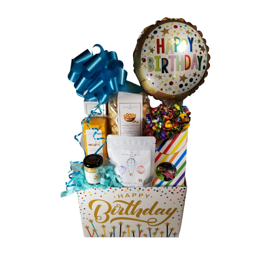 """Birthday Bash Gourmet Gift Box: Comes with a personal goody party of gourmet cheddar cheese, hardwood smoked summer sausage, amber beer mustard, mini wood spreader, and a birthday cake mix they microwave in a mug. Candy box filled with a variety of traditional name brand hard candy.   Includes:  Candy Box with 9"""" air-filled balloon, ribbon curls Birthday Balloon, a mix of name brand candy, Starburst, SweetTarts, Tootsie Roll, Jolly Rancher Skittles, Nerds, LaffyTaffy, or Tootsie Fruit Chews. 4 oz Birthday Vanilla Mug Cake, sweet & fruity with a touch of bubbly! Microwaveable Birthday cake in a mug! Mini Cheese Spreader, *2 oz Gourmet Amber Beer Mustard, *5 oz Hardwood Smoked Summer Sausage, *8 oz Cheddar Cheese bar 7"""" tall x ¾ """"thick, *4 oz bagged Vanilla Caramel Popcorn 9"""" tall x 2.5"""" D,  Gift comes wrapped in cellophane, matching ribbon, and paper shred fill. A complimentary gift card with your personal message."""