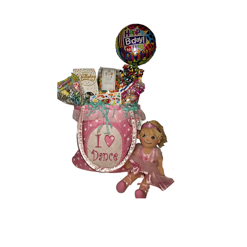 """Birthday Girl Tote Bag of Wishes w/doll:  The love to dance ballet carry-all bag come with a personal goody party of gourmet cookies, candy, Jelly Belly Jellybeans, fruity flavored gourmet popcorn. An Apple Dumpling Doll Ballerina. Birthday Balloon with candy box is filled with a variety of traditional name brand hard candy. Includes: •I love Dance"""" ballet carry-all bag 12 x 11 This carry-all bag is just what she needs to use as a dance class bag, an overnight bag, or doll and toy carrier.   •14"""" Apple Duplin Ballerina Doll: She's adorable and loves to dance and very proud in her ballet outfit.  Any little girl would love to have in her collection who loves ballet or dreams of being a Ballerina!   •9"""" air-filled , ribbon curls Birthday Balloon, filled with a mix of name brand candy, Starburst, SweetTarts, Tootsie Roll, Jolly Rancher Skittles, Nerds, LaffyTaffy, or Tootsie Fruit Chews.  •Jelly Belly Jellybeans mini with assorted flavors •2.5 oz Sugar Cookies, crunchie sweet •Cotton Candy Drops Happy Birthday Box •Carnaval Lollies, assorted flavors, •*4 oz bagged Fruity Gourmet Popcorn 9"""" tall x 2.5"""" D Gift comes wrapped in cellophane, matching ribbon, and paper shred fill.  A complimentary gift card with your personal message."""