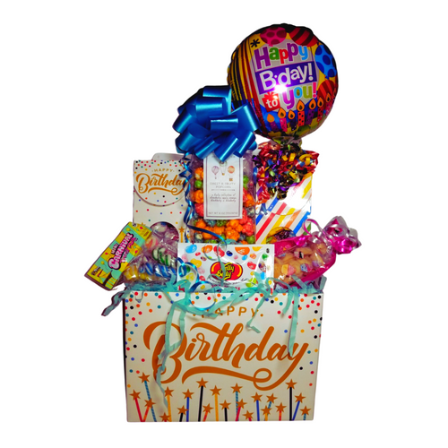 """Happy Birthday Surprise Gift Box: They'll be so thrilled and surprised with this fun filled personal goody party of gourmet cookies, candy, Jelly Belly Jellybeans, Fruity flavored gourmet popcorn, Birthday Balloon, comes filled with a variety of traditional name brand hard candy in a festive candy box with curled ribbon.  Includes:  Happy Birthday 9"""" air-filled, ribbon curls Birthday Balloon, with candy box filled with a mix of name brand candy, Starburst, SweetTarts, Tootsie Roll, Jolly Rancher Skittles, Nerds, LaffyTaffy, or Tootsie Fruit Chews. Jelly Belly Jellybeans mini with assorted flavors 2.5 oz Sugar Cookies, crunchie sweet Cotton Candy Drops boxed Happy Birthday Box Carnaval Lollies, assorted flavors, for the young at heart *4 oz bagged Fruity Gourmet Popcorn 9"""" tall x 2.5"""" D,  Gift comes wrapped in cellophane, matching ribbon, and paper shred fill. A complimentary gift card with your personal message."""