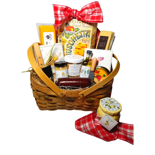 """Gourmet Bounty Apple Gift Basket:  From Cornucopia's Epicure Shop, a showcase of gourmet specialties and gifts ideal for a grand impression appropriate for any occasion. An array of shelf-stable, cheeses, Summer Sausage, Gourmet Crackers, Mixed Nuts, (by Jocelyn & Co) & (The Cornucopia Shop) also featuring the finest Bella Cucina's Lemon spread, a delicate light lemon spread, and Rendezvous Tin of assorted fruit flavored hard candy. Simply gourmet, simply delicious gift.   Gift giving ideas. get well, a teacher appreciation, new home, epicurean foodie or for any other reason.  Includes:  5"""" Wood Slat Apple print basket with drop handles Mini Cheese Spreader, Stainless Steel Cleaver, *60 ml Tuscan Extra Virgin Olive Oil, infused with rosemary, oregano, and basil. A perfect accompaniment for a cheese board *2 oz Gourmet Amber Beer Mustard, *5 oz Hardwood Smoked Summer Sausage, *8 oz Cheddar Cheese bar 7"""" tall x ¾ """"thick, *8 oz Jalapeno Monterey Jack Cheese bar 7"""" tall x ¾ """"thick, 75 oz Mixed Nuts, delightful mix of crunch, *3.75 oz Cabernet Sauvignon Cheddar Cheese Spread, a creamy spreadable cheese made with real cabernet sauvignon wine, and cheddar cheese. Size: 4Hx4Wx1D, *3.75 oz Camembert Cheese Spread, white cheddar and camembert cheese spread, Size: 4Hx4Wx1D, 5 oz Rendezvous Tin of assorted fruit hard candy drops 3 oz Bruschetta Parmesan Crips, 6 oz Bella Cucina Meyer Lemon Spread,  *Gourmet Food products are made in the USA and are shelf stable."""