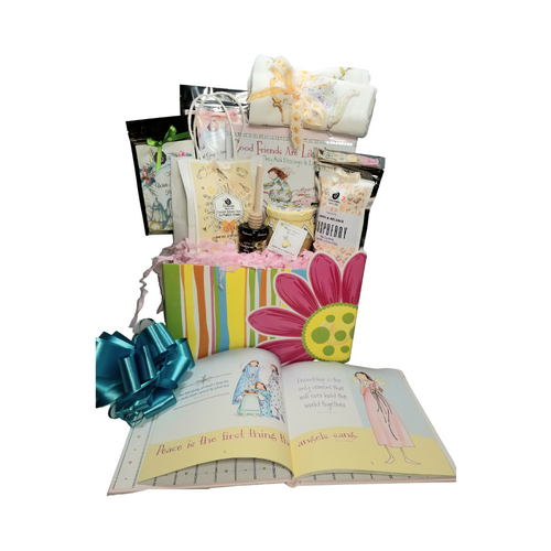 """Good Friends are Like Angels: Everyone has an """"angel"""" they're grateful for! This gift set allows you to show exactly that with the book """"Good Friends are Like Angles"""". Illustrated by Award-winning watercolor artist Claire Stoner. Celebrate and honor a special relationship of a dearest friend, a mom has with her grown-up daughter, or a woman has with her loving sister. A selection of fine specialty teas from Cornucopia's Tea Shop, Scone mix, Bella Cucina's Lemon Spread, Raspberry tea cookies and more to enjoy with this simple, fresh, and pure friendship gift.  Gift giving ideas: Birthday, Get Well. Thank you, Appreciation  Includes:   Book """"Good Friends are Like Angles 9.15 oz Classic Cream Scone Mix by Rabbit Creek in Cornucopia's Gift pkg, 6 oz Bella Cucina Meyer Lemon Spread, Mini Honey & Honey Spool, 2-100% Cotton Flour Cloth Tea Towels, assorted floral prints, Janise & Melanie Raspberry Tea Cookies, 2, 1 oz. Cornucopia Brand Specialty Loose Leaf Teas. Earl Gray Cream Loose Leaf Tea White Tea w/Peony Loose Leaf Tea.  Gift comes wrapped in cellophane with hand tied color coordinated bow, a complimentary enclosure card with your personal message."""