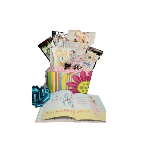 """Good Friends: Everyone has an """"angel"""" they're grateful for! This gift set allows you to show exactly that with the book """"Good Friends are Like Angles"""". Illustrated by Award-winning watercolor artist Claire Stoner. Celebrate and honor a special relationship of a dearest friend, a mom has with her grown-up daughter, or a woman has with her loving sister. A selection of fine specialty teas from Cornucopia's Tea Shop, Scone mix, Cornucopia's Epicure Shop Bluebarry Jam, Raspberry tea cookies and more to enjoy with this simple, fresh, and pure friendship gift.  Gift giving ideas: Birthday, Get Well. Thank you, Appreciation  Includes:   Book """"Good Friends are Like Angles 9.15 oz Classic Cream Scone Mix by Rabbit Creek in Cornucopia's Gift pkg, Mini Honey & Honey Spool, 1-100% Cotton Flour Cloth Tea Towels, assorted floral prints, Janise & Melanie Raspberry Tea Cookies, Cornucopia'a Brand Specialty Tea Earl Gray Cream Loose Leaf Tea White Tea w/Peony Loose Leaf Tea.  Gift comes wrapped in cellophane with hand tied color coordinated bow, a complimentary enclosure card with your personal message."""
