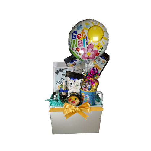 """Get Well Soup N' Mug - Gift Basket Box: A little cheery get well gift to send warm wishes their way. The only thing missing is you by their side. They'll be pleased to know you are thinking of them.   Gift Unisex  Includes:  Includes Get Well Soon print Ceramic mug, 9"""" air-filled Get Well Soon balloon, a mix of name brand candy such as Starburst, SweetTarts, Tootsie Roll, Jolly Rancher, Skittles, Nerds, LaffyTaffy or Tootsie Fruit Chews. Mix may vary in each gift. ribbon curls, cellophane wrap, and card. 2-1 oz of Loose-Leaf Cornucopia Teas: Our Teas come in resealable pouches with decorative tea labels as shown in the image, along with a brewing guide. 8T21339 Fruit tea blend, flavored Aloe Vera Chamomile Lemon. Candied, large white Aloe vera slices, whole yellow chamomile blossoms and bright orange slices create a visually beautiful tea that looks like a bright summer's day. Cooling, & soothing. 7T6513 Detox (Loose Leaf) aims to establish a balance of immunity, inner peace and physical rejuvenation, allowing one's prakriti to heal and start anew. 1 oz Mini Honey, Wood Honey Spool, 11/2 """" Tea Ball with drip catcher stainless steel by Cha Cult (Germany) J & M Gourmet Spiced Cinnamon Tea Cookies in Cornucopia's Gift basket packaging.  Gift comes shrink wrapped in cellophane and hand tied bow. Enclosure card with your personal gift message 200-character limit."""