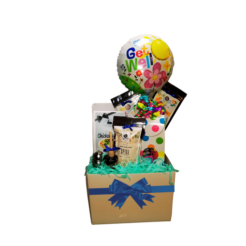 """Get Well Soup N' Tea - Balloon Bouquet Gift Box  Sometimes a little can say so much and make their day a little brighter knowing you thought of them.  Send a smile today, send this get well giftable.  Gift Includes: •heavy paperboard candy box filled with a mix of name brand candy such as Starburst, SweetTarts, Tootsie Roll, Jolly Rancher Skittles, Nerds, LaffyTaffy or Tootsie Fruit Chews. Get Well 9"""" air-filled balloon, ribbon curls, and your personal message on a gift card. •2-1 oz of Loose-Leaf Cornucopia Teas: Our Teas come in resealable pouches with decorative tea labels as shown in the image, along with a brewing guide.  o8T21339 Fruit tea blend, flavored Aloe Vera Chamomile Lemon. Candied, large white Aloe vera slices, whole yellow chamomile blossoms and bright orange slices create a visually beautiful tea that looks like a bright summer's day. Cooling, & soothing. o7T6513 Detox (Loose Leaf) aims to establish a balance of immunity, inner peace and physical rejuvenation, allowing one's prakriti to heal and start anew.  •1 oz Mini Honey, •Wood Honey Spool, •1 1/2 """" Tea Ball with drip catcher stainless steel by Cha Cult (Germany) •J & M Gourmet Spiced Cinnamon Tea Cookies in Cornucopia's Gift basket packaging.  Gift comes shrink wrapped in cellophane and hand tied bow. Enclosure card with your personal gift message 200-character limit."""