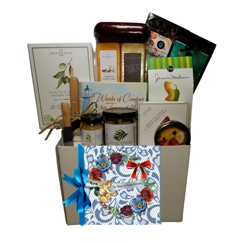 """In Times of Great Sorrow-Sympathy Gift Basket: A gift to let them know you are thinking of them in their time of loss. A Book to assist in the grieving process titled """"Words of Comfort for Times of Loss"""", by authors Cecil Murphey and Liz Allison.From Cornucopia's Epicure Shop, a showcase of gourmet specialties and gifts ideal to show you care. Shelf-stable, cheeses, Summer Sausage, Gourmet Crackers, (by Jocelyn & Co), Rendezvous Hard candy Tin of assorted fruit flavors, J & M Jalapeno Cheese Straws, and Cornucopia's specialty Coffees, mini Honey and Honey Spool, stainless steel Cleaver, Infuser, and Mini Cheese Spreader. .  Includes:   Book to assist in the grieving process titled """"Words of Comfort for Times of Loss"""", by authors Cecil Murphey and Liz Allison. Stainless Steel Cleaver, 5 oz Rendezvous Tin of assorted fruit hard candy drops .9 oz Olive Oil & Sea Salt Cracker Mini Cheese Spreader, 2 -1 oz Whole Coffee Bean, Decaf, Regular, by The Cornucopia Epicure Shop *5 oz jar Sevillano Green Olives with Herbes de Provence (basil, thyme, fennel, and lavender) *2 oz Gourmet Amber Beer Mustard, *5 oz Hardwood Smoked Summer Sausage,Classic, handcrafted taste makes Klement's Original Summer Sausage the natural center of attention at any gathering. It's the perfect recipe for good times, whatever the occasion. *8 oz Cheddar Cheese bar 7"""" tall x ¾ """"thick *8 oz Jalapeno Monterey Jack Cheese bar 7"""" tall x ¾ """"thick, *3.75 oz Cabernet Sauvignon Cheddar Cheese Spread, a creamy spreadable cheese made with real cabernet sauvignon wine, and cheddar cheese. Size: 4Hx4Wx1D, 2.5 oz J & M Jalapeno Cheese Straws, truly gourmet.  *Gourmet Food products are made in the USA and are shelf stable.  Gift comes wrapped in cellophane with hand tied bow, a complimentary enclosure card with your personal message is tucked inside and folds over the front of the gift. 500 character limit."""