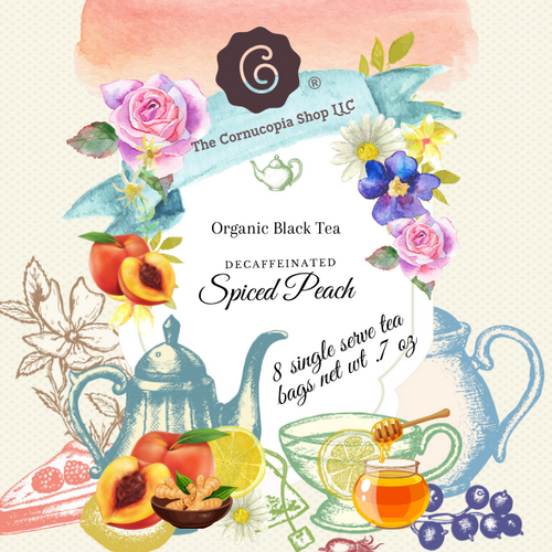 Decaffeinated Spiced Peach (Tea Bag)Green Tea Garden (Tea Bag) combinesthe essence of sun-ripened peaches with aromatic spices and a robust base of decaffeinated black tea.  Brewing size options 8 single serve tea bags, boxed (Box Net Wt. .7 oz.) or 4 - 1 Qt. tea bag (Box Net Wt. 1.7 oz) Ingredients: Organic decaffeinated black tea, organic cloves, organic orange peel, organic cinnamon, organic allspice and natural flavor. Taste: is a full-bodied, cinnamon peach black tea brew, as rich as its caffeinated counterpart. Origin: Cornucopia's organic decaffeinated teas are sourced from the Putharjhora Tea Garden in Darjeeling, India.  Brewing: Bring fresh water to a boil, add one tea bag to one 8 oz cup or 2 cup teapot, tea for one, filled with hot water allow the tea to steep for 5-7 minutes. 1 Qt. size add to 32 oz and up capacity teapot, let brew for 7-10 mins or desired strength and remove tea bag when ready to serve.  Iced tea: in an iced tea maker (see item 41778) or large heat proof pitcher or teapot, brew 1 qt. bag as directed above and allow to cool on the counter before refrigerating. For sweet tea, start with 1/3 to ¼ cup of sugar, add hot water stir to dissolve, then add the tea bag to complete the brewing process.  When creating an iced tea concentrate, after following the instructions above and cooled, keep the tea bag in the container and brew up to 24 hours in the refrigerator. Use within 2-3 days by adding cold filtered water and ice, lemon slices, or other fruits as desired by the glass or pitcher.  Sip and enjoy Cornucopia's tea hot or over ice!