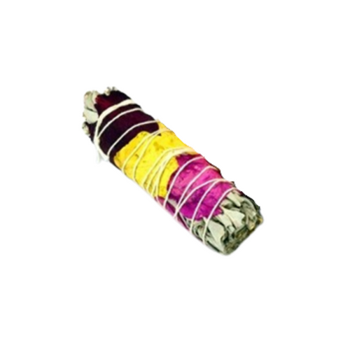 """White Sage Smudge Stick w/Rose Petal Wrap, Wildcrafted:(Salvia apiana) is traditionally known for its sweet fragrance and slightly stringent aroma. Wrapped in three bright and vibrant dried rose petals. Roses are said to impart the energy of love, abundance and spiritual attainment, and to help bring calm and blessings to one's life. Rose promotes admiration and happiness.  These Smudge Stick varieties come from ethical Wildcrafters, and are gathered in a responsibly, ecologically sound, and respectful way. The plants were not harmed and nothing was wasted.  Smudge Sizes: 4.25-5"""" L x 1"""" W. Please note that size is approximate and may vary.  Gift Icludes - 1 smudge stick in cello bag with gift wrap ribbon. Warning:Adult supervision required. Avoid smudging if pregnant. Burn on ceramic heat proof dish or tray big enough to accommodate the smudge size. Light and Keep children and animals away from lit smudges. Do not leave lit smudges unattended.  We wish your home much love, peace and abundance."""