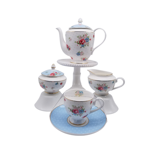 Katie Rose Blue Coffee/Tea Pot 11pc Set - Fine Bone China 11pc Coffee/Tea in fine bone china in a floral pattern with blue lids and gold trim. Brite and cherry gatherings are sure to happen.  Gifting Idea: birthday, bridal shower, or Mother's Day. Treat yourself or someone you love!  Includes:  11 pc Fine Bone China Coffee/tea set by Grace Teaware 1- 4 Cup Tea Pot, 30 ounces. Fine Bone China, Gold Trimmed 4 - cup/saucer set 1 - cream/sugar set Dishwasher safe  Complimentary Enclosure card included.