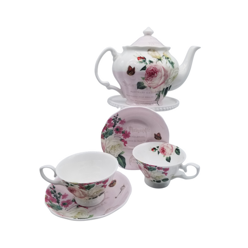 Liz Garden Tea 9pc tea set: Fine Bone China 9pc tea set with, 1 Teapot, and 4 Sets of Cup & Saucer. Modern and classic. Creamy rich red rose and pink pattern with script  Gifting Idea: Birthday, Bridal Shower, or Mother's Day. treat yourself or someone you love!  Includes:  9pc fine bone china tea set 1- 5 cup Teapot 4 - cup/saucer set Dishwasher safe  Complimentary Enclosure Card
