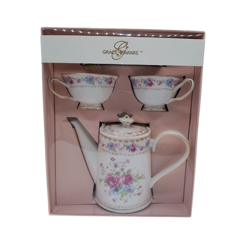 """Grace Teaware Gift Boxed Tea Set: 5pc porcelain Grace Teaware tea set in a Rose bouquet pattern with matching 2 service cup and saucer. Comes nicely packaged in a gift box as shown. Great collector starter set or addition, if you love Grace Teaware this soft pink rose pattern with pink and gold trim will be enjoyed for years to come.   Gifting Idea: birthday, bridal shower, or Mother's Day. treat yourself or someone you love!  Includes:  6 pc gift boxed porcelain tea set by Grace Teaware 1-Teapot 2 - cup/saucer Soft white background with rose print, gold and pink trims Dishwasher safe  Gift box is 12"""" x 10"""" x 6"""" in a light pink gift box with Grace Teaware band and white satin gift bow. Enclosure card is tucked inside the gift."""