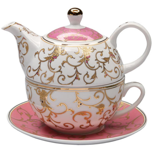 Pink Gold Scroll 4 Piece Tea for One - Gift Boxed:By Grace Teaware, is a nested Teapot, with cup and saucer set comes in a pastel blue gift box with white bow. A lovely way to great the day with a morning cup of tea! One of Cornucopia's CEO's favorite.  Perfect gift when paired with one of our loose leaf teas, and infuser.  Stacked 2 Cup Teapot with 10 oz Cup and 6 inch Saucer. Texture Scroll Decoration. Fine Porcelain, Gold Trimmed.  Enclosure card included with your personal message.