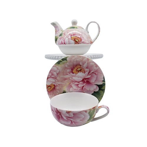 Empire Peony 4 Piece Tea for One: fine porcelain. A nested Teapot, with cup and saucer set comes in a pastel blue gift box with white bow. A lovely way to great the day with a morning cup of tea! One of Cornucopia's CEO's favorite.  Perfect gift when paired with one of our loose leaf teas, and infuser.  Stacked 2 Cup Teapot with 10 oz Cup and 6 inch Saucer. Peony print. Fine Porcelain, Gold Trimmed.  Enclosure card included with your personal message.