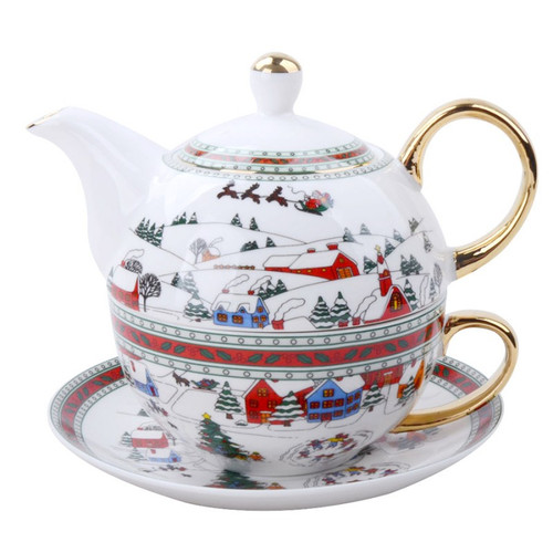 Wonderland 4 Piece Tea for One - Gift Boxed:By Grace Teaware, is a nested Teapot, with cup and saucer set comes in a pastel blue gift box with white bow. Christmas print wonderland with Santa and his sleigh. One of Cornucopia's CEO's favorite.  Perfect gift when paired with one of our loose leaf teas, and infuser.  Stacked 2 Cup Teapot with 10 oz Cup and 6 inch Saucer. Christmas print wonderland with Santa and his sleigh. Fine Porcelain, Gold Trimmed.  Enclosure card included with your personal message.