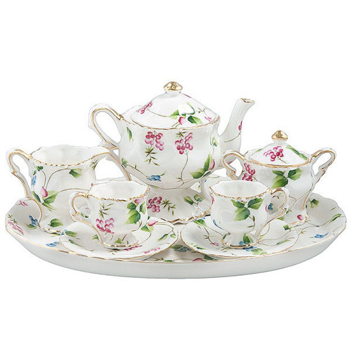 Madison's Garden 10 Piece Tea Set: fine porcelain for ages 5+. Dainty enough for little fingers to learn sharing, entertaining, and grace. 1 Piece of Teapot w/Lid, Sugar w/Lid and Creamer, 2 Set of cup and saucer, 1 Piece of 11 x 9 inch Tray. Fine Porcelain. Gift Box  1 Piece of Teapot w/Lid, Sugar w/Lid and Creamer, 2 Set of cup and saucer, 1 Piece of 11 x 9 inch Tray. Fine Porcelain. Storage Box  Enclose Card with your personal message