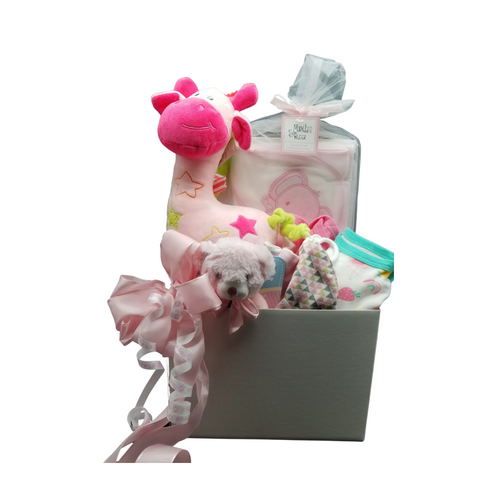 Lullaby Baby Gift Basket Box: A musical Giraffe to play a sweet lullaby to help send baby off to dream land. Soft Plush, machine washable rattle, a hooded baby bath towel and 3-piece baby body suit and 2 baby caps. Reusable storage box. A sweet gift to send your congratulations.  Comes in choice of Pink or Blue and Includes:  White Nursery storage box 3 baby body suits 2 cotton baby caps 1 Plush Teddy bear Rattle 1 Hooded Baby Bath Towel  Complimentary enclosure card, tucked inside with your message. This gift comes wrapped in cellophane and topped with a handmade bow of Pink or Blue and It's a boy or It's a girl curled ribbon.