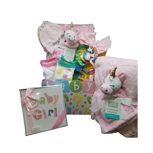 Oh, Baby Gift Basket Box: Adorable crib blanket in blue with a teddy security blanket or in pink a unicorn security blanket, a baby photo album in blue or pink, keychain teething ring, chillable, 2 bodysuits, 2 baby caps, and a reusable storage box for the nursery. A sweet gift to send your congratulations.  Comes in choice of Pink or Blue and Includes:  Baby nursery storage box, 2 baby bodysuits, 2 cotton baby caps, 1 plush blanket with teddy security blanket, 1 key set teething ring, Baby photo album  Complimentary enclosure card, tucked inside with your message. This gift comes wrapped in cellophane and topped with a handmade bow of Pink or Blue and It's a boy or It's a girl curled ribbon.