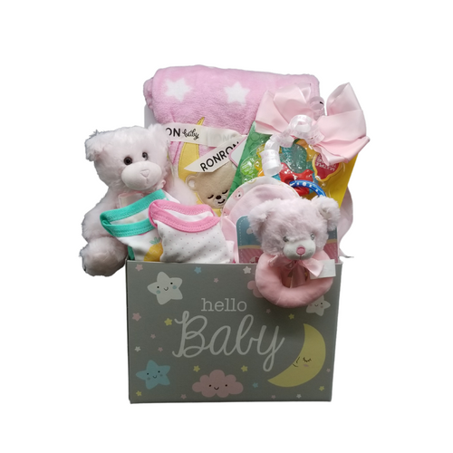 Hello, New Baby Gift Basket Box: This gift set includes anultra-soft fleece baby blanket features an adorable applique of a bear slumbering on the moon against a background of stars. Blanket comes wrapped with a satin ribbon,keychain teething ring, chillable, 2 bodysuits, 2 baby caps, teddy plush rattle, and a reusable storage box for the nursery. A sweet gift to greet a new little one.Comes in choice of Pink or Blue and Includes:  Baby nursery storage box, Plush bear 2 baby bodysuits, 2 cotton baby caps, 1 ultra-soft fleece baby blanket features an adorable applique of a bear slumbering on the moon against a background of stars. Blanket comes wrapped with a satin ribbon 1 keyset teething ring, 3+ months are filled with purICE™ gel and offer cooling comfort for babies who are teething. BPA-free for your child's safety. helps keep children comfortable. Teddy plush rattle,  Complimentary enclosure card, tucked inside with your message. This gift comes wrapped in cellophane and topped with a handmade bow of Pink or Blue and It's a boy or It's a girl curled ribbon.
