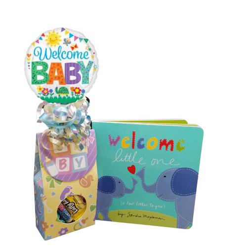 """Welcome Little One - Book Gift Set: Candy box with Welcome balloon bouquet. A baby book for parents """"Welcome Little One """", the arrival of a newborn child is an event that offers the promise of never-ending love and a lifetime of memories. Filled with lively illustrations, gentle rhyming text, and a heartfelt message of universal love, this beloved elephant board book allows parents and children to celebrate and cherish their one-of-a-kind bond. The perfect gender-neutral baby shower or infant gift to congratulate and send to new parents, pregnancy gift, first birthday gift, or for simply expressing the love you have for the little ones in your life!  Welcome a little one, board book, Includes a page for personalizing baby's birth information. Baby candy box with Welcome air filled mylar balloon. Includes heavy paperboard candy box filled with a mix of name brand candy such as Starburst, SweetTarts, Tootsie Roll, Jolly Rancher, Skittles, Nerds, LaffyTaffy or Tootsie Fruit Chews. Mix may vary in each gift, Welcome Baby 9"""" air-filled balloon, ribbon curls, and your personal message on a gift card.  Complimentary enclosure card, tucked inside with your message. This gift comes in a cello bag with hand tied bow and is accompanied with the balloon bouquet."""