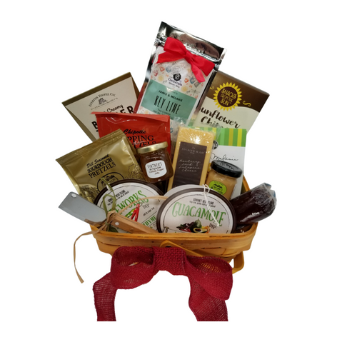 """Hot N' Spicy Gourmet Treats Gift basket: Sure to set aflame the hot n spicy dare devils' palette. This gourmet treat is brimming with a flavor mix that compliments one another of sweet, savory and spice. Beautifully designed in a high-quality gift basket to incorporate in their home décor.  Gift Includes:  Wood Chip Drop Handle Basket 4 3/4""""H X 8""""W X 10""""D 9 1/2""""Tall, 5 oz J & M Key Lime Tea Cookies *5 oz Hardwood Smoked Summer Sausage, *8 oz Jalapeno Monterey Jack Cheese bar 7"""" tall x ¾ """"thick, *1 oz. Sunflower Organic Sea Salt Cracker, *Hot n Spicey Fireworks Dip Mix, *Guacamole Dip Mix, *1.4 oz East Shore Slow Cooked -Key Lime with Ginger Mustard, *1.4 oz Confetti Pepper Jelly Mini, *2 oz East Shore Pretzels -Dill Seasoned Sourdough Pretzels, *2.5 oz J & M Gourmet Jalapeno Cheese Straws, *4 oz East Shore, Hot & Smoky! Dipping Pretzels seasoned with a robust blend of red chiles and naturally smoked jalapeño peppers (Chipotle). Stainless Steel Cleaver, 2 oz. - Everton Butter Toffee Caramels,  *Gourmet Food products are made in the USA and are shelf stable.  Gift comes wrapped in cellophane with hand tied bow, a complimentary enclosure card with your personal message"""