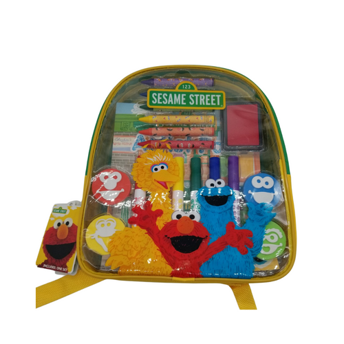 21-Piece Art and Activity Backpack - Sesame Street  This Sesame Street® Art and Activity Backpack makes the perfect gift for any aspiring young artist! Kids will enjoy endless creative fun with over 20 arts and crafts materials all together with easy storage and portability. Great for creative fun at home or on the go!  Measures 10 inches by 11 inches by 2.75 inches Sold in increments of 2 Backpack includes: 6 broadline markers, 6 jumbo crayons, 4 foam stampers, 2 sticker sheets, 1 artist pad, and 1 ink pad Reusable backpack Backpack features thick, cushioned straps and handle Straps are adjustable Zipper closure Markers are washable from skin and most children's clothing Great for creative fun at home or on the go! Licensed product  Gift Card included with your personal message tucked inside the package.