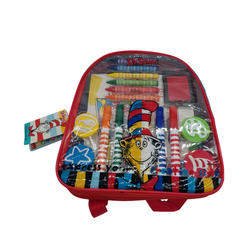 21-Piece Art and Activity Backpack -Dr. Seuss™  This Dr. Seuss™ Art and Activity Backpack makes the perfect gift for any aspiring young artist! Kids will enjoy endless creative fun with over 20 arts and crafts materials all together with easy storage and portability. Great for creative fun at home or on the go!  Measures 11 inches by 10 inches by 2.75 inches Backpack includes: 6 broadline markers, 6 jumbo crayons, 4 foam stampers, 2 sticker sheets, 1 artist pad, and 1 ink pad Reusable backpack Backpack features thick, cushioned straps and handle Straps are adjustable Zipper closure Markers are washable from skin and most children's clothing Great for creative fun at home or on the go! Licensed product  Gift Card included with your personal message tucked inside the package.