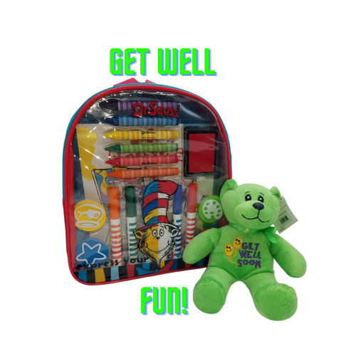 Get Well Activity Backpack -Dr. Seuss™:This Get well wishes includes a little get well care bear, along with a Dr. Seuss™ Art and Activity Backpack makes the perfect get well gift for any aspiring young artist! Kids will enjoy endless creative fun with over 20 arts and crafts materials all together with easy storage and portability. Great for creative fun at home or on the go!  Measures 11 inches by 10 inches by 2.75 inches Backpack includes: 6 broadline markers, 6 jumbo crayons, 4 foam stampers, 2 sticker sheets, 1 artist pad, and 1 ink pad Reusable backpack Backpack features thick, cushioned straps and handle Straps are adjustable Zipper closure Markers are washable from skin and most children's clothing Great for creative fun at home or on the go! Licensed product Get Well Plush Bear  Gift Card included with your personal message tucked inside the package.