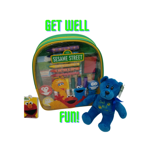 Get Well Activity Backpack - Sesame Street - Sesame Street  This Get we;; care bear and Sesame Street® Art and Activity Backpack makes the perfect get well gift for any aspiring young artist! Kids will enjoy endless creative fun with over 20 arts and crafts materials all together with easy storage and portability. Great for creative fun at home or on the go!  Measures 10 inches by 11 inches by 2.75 inches Sold in increments of 2 Backpack includes: 6 broadline markers, 6 jumbo crayons, 4 foam stampers, 2 sticker sheets, 1 artist pad, and 1 ink pad Reusable backpack Backpack features thick, cushioned straps and handle Straps are adjustable Zipper closure Markers are washable from skin and most children's clothing Great for creative fun at home or on the go! Licensed product Get Well Care Bear  Gift Card included with your personal message tucked inside the package.