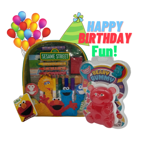 Happy Birthday Activity Backpack - Sesame Street®: This Happy Birthday Gift for boys or girls includes a Giant Beary Gummy Super Squeezy Toy, along withSesame Street® Art and Activity Backpack makes the perfect happy birthday gift for any aspiring young artist! Kids will enjoy endless creative fun with over 20 arts and crafts materials all together with easy storage and portability. Great for creative fun at home or on the go!  Activity Set Measures 10 inches by 11 inches by 2.75 inches Backpack includes: 6 broadline markers, 6 jumbo crayons, 4 foam stampers, 2 sticker sheets, 1 artist pad, and 1 ink pad Reusable backpack Backpack features thick, cushioned straps and handle Straps are adjustable Zipper closure Markers are washable from skin and most children's clothing Great for creative fun at home or on the go! Licensed product Beary Gummy Toy: Toy measures approximately 5 inches by 3.3 inches Assorted colors Package measures 9 inches by 6 inches Super squeezy toy For children ages 4 and up Conforms to the safety requirements of ASTM F963  Gift Card included with your personal message tucked inside the package.