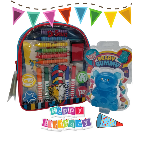 Happy Birthday Activity Backpack -Dr. Seuss™: This Happy Birthday Gift for boys or girls includes a Giant Beary Gummy Super Squeezy Toy, along with a Dr. Seuss™ Art and Activity Backpack makes the perfect happy birhtday gift for any aspiring young artist! Kids will enjoy endless creative fun with over 20 arts and crafts materials all together with easy storage and portability. Great for creative fun at home or on the go!  Activity Measures 11 inches by 10 inches by 2.75 inches Backpack includes: 6 broadline markers, 6 jumbo crayons, 4 foam stampers, 2 sticker sheets, 1 artist pad, and 1 ink pad Reusable backpack Backpack features thick, cushioned straps and handle Straps are adjustable Zipper closure Markers are washable from skin and most children's clothing Great for creative fun at home or on the go! Licensed product Beary Gummy Toy: Toy measures approximately 5 inches by 3.3 inches Assorted colors Peggable blistered packaging Package measures 9 inches by 6 inches Super squeezy toy For children ages 4 and up Conforms to the safety requirements of ASTM F963  Gift Card included with your personal message tucked inside the package.