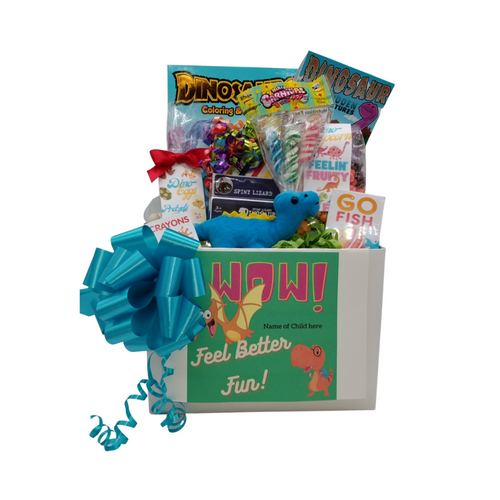 """Get Well Dinosaur Fun: So much fun packed into this Get Well gift box Dinosaur themed activities and treats to learn and enjoy. Great for ages 3 and up. Comes with a stuffed dinosaur animal, coloring books, activity gifts, crayons, kids playing card go fish, Jelly Belly assorted jellybeans, Dino-Corn a tutti fruity popcorn, carnival twist pops, Dino-eggs a candy-coated pretzel bites, Festive Box of hard candies name brand mix such as Starburst, SweetTarts, Skittles and much more. Personalized options, fill out here, before placing in the cart.  Includes:  Stuffed Dinosaur, (assorted dinosaur and colors), Dinosaur Coloring & Activity Book, 6 pc Crayon set, Dinosaur Activity Book, Dinosaur Fossil Building Set, (assorted sets) 15"""" Measured sitting. Go Fish playing card game, 2 oz bag Dino -Eggs – Candy Coated Pretzel Bites, Carnival assorted Twist Pops, 6 oz Dino Corn-Tutti Fruity Popcorn, 1 oz Jelly Belly 20 Flavor Snack Bag, 4 oz Assorted hard Candy Box, a mix of name brand candy such as Starburst, SweetTarts, Tootsie Roll, Jolly Rancher Skittles, Nerds, LaffyTaffy or Tootsie Fruit Chews. Mix may vary in each gift. ribbon curls, Get Well Dino greeting card: Personalized Child's Name Your personal message on the flip side, tucked into the front of the gift box as shown.   Gift comes wrapped in cellophane with decorative bow"""