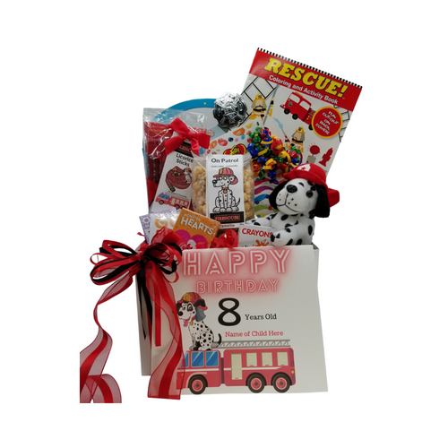 Happy Birthday Firefighter Fun-Personalized: So much fun packed into this Firefighter themed Happy Birthday gift box filled with activities and treats to learn and enjoy. Great for ages 3 and up. Comes with a stuffed Firehouse Dalmatian dog, Rescue themed coloring book, activity book for boys, crayons, 3-kids playing card sets, Jelly Belly assorted jellybeans, On Patrol- Candy Coated Popcorn, carnival twist pops, Firehouse Favorites – Licorice sticks, Festive Box of hard candies name brand mix such as Starburst, SweetTarts, Skittles and much more. Personalized options, fill out here, before placing in the cart.  Includes:  Firehouse Dalmatian stuff Dog Toy, Rescue Coloring & Activity Book, 6 pc Crayon set, Activity Book for Boys, includes a sticker set Firefighter's Badge, very official looking, plastic badge 3 playing card games, Go Fish, Old Maids, Monster Hearts, 2 oz bag Firehouse Favorite Strawberry Licorice Sticks, Carnival assorted Twist Pops, 6 oz On Patrol – Candy Coated Popcorn, 1 oz Jelly Belly 20 Flavor Snack Bag, 4 oz Assorted Festive Box, with curled ribbon, a mix of name brand candy such as Starburst, SweetTarts, Tootsie Roll, Jolly Rancher Skittles, Nerds, LaffyTaffy or Tootsie Fruit Chews. Mix may vary in each gift. ribbon curls, Happy Birthday Firefighter greeting card: Personalized Child's Name Child's Age Your personal message on the flip side, tucked into the front of the gift box as shown. Gift comes wrapped in cellophane with decorative bow