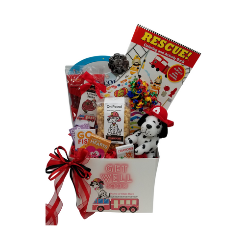 Happy Birthday Firefighter Fun-Personalized: So much fun packed into this Firefighter themed Get Well gift box filled with activities and treats to learn and enjoy. Great for ages 3 and up. Comes with a stuffed Firehouse Dalmatian dog, Rescue themed coloring book, activity book for boys, crayons, 3-kids playing card sets, Jelly Belly assorted jellybeans, On Patrol- Candy Coated Popcorn, carnival twist pops, Firehouse Favorites – Licorice sticks, Festive Box of hard candies name brand mix such as Starburst, SweetTarts, Skittles and much more. Personalized options, fill out here, before placing in the cart.  Includes:  Firehouse Dalmatian stuff Dog Toy, Rescue Coloring & Activity Book, 6 pc Crayon set, Activity Book for Boys, includes a sticker set Firefighter's Badge, very official looking, plastic badge 3 playing card games, Go Fish, Old Maids, Monster Hearts, 2 oz bag Firehouse Favorite Strawberry Licorice Sticks, Carnival assorted Twist Pops, 6 oz On Patrol – Candy Coated Popcorn, 1 oz Jelly Belly 20 Flavor Snack Bag, 4 oz Assorted Festive Box, with curled ribbon, a mix of name brand candy such as Starburst, SweetTarts, Tootsie Roll, Jolly Rancher Skittles, Nerds, LaffyTaffy or Tootsie Fruit Chews. Mix may vary in each gift. ribbon curls, Get Well Firefighter greeting card: Personalized Child's Name Your personal message on the flip side, tucked into the front of the gift box as shown.  Gift comes wrapped in cellophane with decorative bow