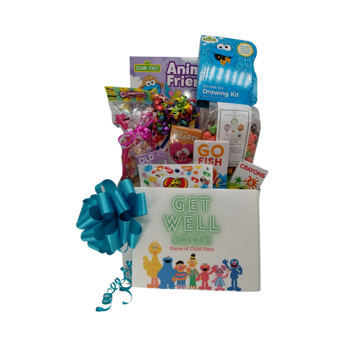 Get Well Sesame Street® Fun-Personalized: So much fun packed into this Sesame Street® themed Get Well gift box filled with activities and treats to learn and enjoy. Great for ages 4 and up. Comes with a Beary Gummy Super squeezy toy, Sesame Street® Animal Friends coloring activity book, crayons, 3-kids playing card sets, Jelly Belly assorted jellybeans, Tutti Fruity Popcorn, carnival twist pops, Happy Birthday Sugar Cookies, Festive Box of hard candies name brand mix such as Starburst, SweetTarts, Skittles and much more. Personalized options, fill out here, before placing in the cart.  Includes:  Sesame Street® Animal Friends Coloring Book Sesame Street® On the Go & Activity Set, 6 pc Crayon set, 3 playing card games, Go Fish, Old Maids, Monster Hearts, Beary Gummy Toy in assorted colors, super squeezy toy for ages 4 and up, Toy measures approximately 5 inches by 3.3 inches. Conforms to the safety requirements of ASTM F963. Carnival assorted Twist Pops, 6 oz Tuttie Fruity Fun – Candy Coated Popcorn, 1 oz Jelly Belly 20 Flavor Snack Bag, 4 oz Assorted Festive Box, with curled ribbon, a mix of name brand candy such as Starburst, SweetTarts, Tootsie Roll, Jolly Rancher Skittles, Nerds, LaffyTaffy or Tootsie Fruit Chews. Mix may vary in each gift. ribbon curls, Get Well Sesame Street® greeting card: Personalized Child's Name  Your personal message on the flip side, tucked into the front of the gift box as shown.   Gift comes wrapped in cellophane with decorative bow