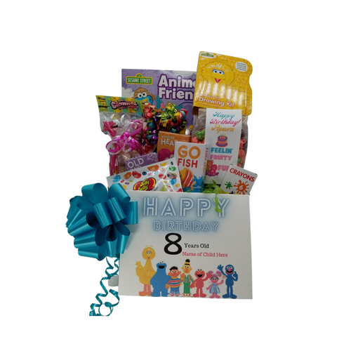 Happy Birthday Sesame Street® Fun-Personalized: So much fun packed into this Sesame Street® themed Happy Birthday gift box filled with activities and treats to learn and enjoy. Great for ages 4 and up. Comes with a Beary Gummy Super squeezy toy, Sesame Street® Animal Friends coloring activity book, crayons, 3-kids playing card sets, Jelly Belly assorted jellybeans, Tutti Fruity Popcorn, carnival twist pops, Happy Birthday themed bag Sugar Cookies, Festive Box of hard candies name brand mix such as Starburst, SweetTarts, Skittles and much more. Personalized options, fill out here, before placing in the cart.  Includes:  Sesame Street® Animal Friends Coloring Book Sesame Street® On the Go & Activity Set, 6 pc Crayon set, 3 playing card games, Go Fish, Old Maids, Monster Hearts, Beary Gummy Toy in assorted colors, super squeezy toy for ages 4 and up, Toy measures approximately 5 inches by 3.3 inches. Conforms to the safety requirements of ASTM F963. Carnival assorted Twist Pops, 6 oz Happy Birthday Tuttie Fruity Fun – Candy Coated Popcorn, 2 oz Happy Birthday bag of Sugar Cookies, 1 oz Jelly Belly 20 Flavor Snack Bag, 4 oz Assorted Festive Box, with curled ribbon, a mix of name brand candy such as Starburst, SweetTarts, Tootsie Roll, Jolly Rancher Skittles, Nerds, LaffyTaffy or Tootsie Fruit Chews. Mix may vary in each gift. ribbon curls, Happy Birthday Sesame Street® greeting card: Personalized Child's Name Childs age Your personal message on the flip side, tucked into the front of the gift box as shown.   Gift comes wrapped in cellophane with decorative bow