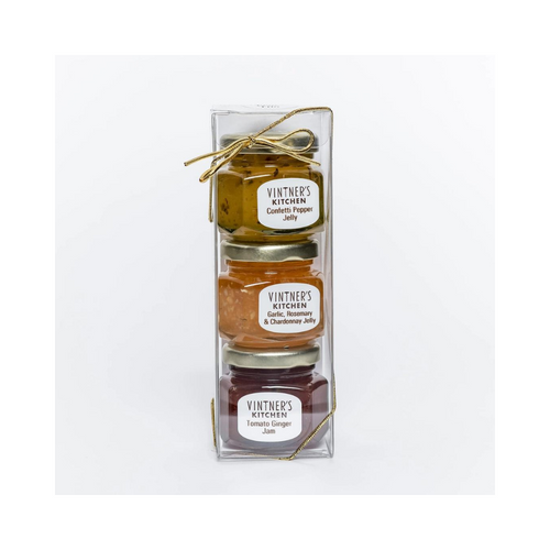 Cheese Plate Gourmet Jelly Trio: by Vintner's Kitchen LLC  The perfect cheese plate companion for your holiday cocktail parties, stocking stuffer, or hostess gift.  Jelly Trio includes: 2 ounce jar of confetti pepper jelly, garlic rosemary & chardonnay jelly, tomato ginger jam.  Made in United States of America