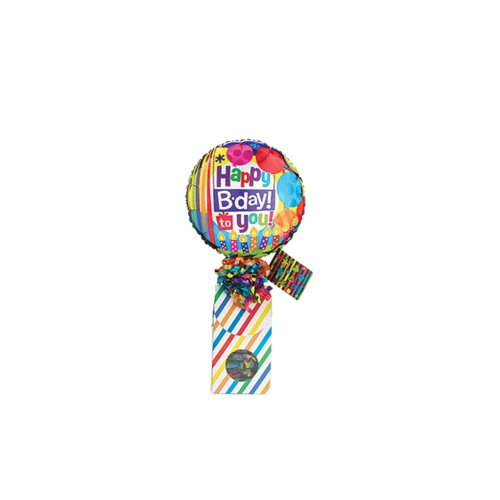 """Birthday Celebration Balloon Candles Candy Box!  Sometimes a little can say so much and make their special day just a bit more special knowing you thought of them. Send a smile today, send this birthday giftable.  Includes heavy paperboard candy box filled with a mix of name brand candy, Starburst, SweetTarts, Tootsie Roll, Jolly Rancher Skittles, Nerds, LaffyTaffy, or Tootsie Fruit Chews. Happy Birthday Candles 9"""" air-filled balloon, ribbon curls, and your personal message on a gift card."""