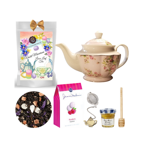 "Gingham Rose Teapot with Tea Gift: This lovely Tea and Teapot gift set with mini honey, honey spool, and teapot charm teaball sends happy greetings just in time for tea!   16 oz. by New Anchor white with a pastel pink rose print against a pastel pink Gingham print. Handwash.    1 oz. Violet/Macaroon Black Tea (Loose Leaf): They are round and spectacularly colourful. They are sweet and just a pure pleasure for those little ""Me Moments"" in our everyday madness. This special black tea blend will not disappoint. An absolute must for trendsetter!  Ingredients: Black tea (76 %), apple pieces, sliced almonds, flavoring, mallow blossoms, freeze-dried yoghurt granules (skimmed milk yogurt, sugar, maltodextrin, modified starch, acidifying agent: citric acid)  Taste:This special black tea blend of almonds and florals of deep blue violet. results in an exciting combination of nutty, floral and sweet nuances. An absolute must for trendsetter!  Mini Honey by Bonne Maman 1 oz Honey Spool, Wooden  Teaball by Cha Cult, with teapot charm chain, stainless steel  2"" ball  2.5 oz. - J&M Tea Cookies - Raspberry    Gift comes in a gift basket tray shrink wrapped with hand made bow.  Enclosure card with 10% off coupon on purchase of tea, and your personal gift message."