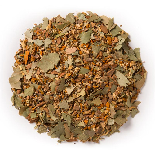 De-Congest (Loose Leaf) aims to clear sinus and chest congestion by promoting the balanced circulation of energy and substance throughout the body  Ingredients: Organic cinnamon bark, turmeric root, licorice root, ginger root, black pepper and bay leaf.  Taste: A vibrant turmeric blend with a sweet cinnamon, licorice finish.  Organic Ayurvedic Infusions aims to promote balance between the mind, body and spirit.