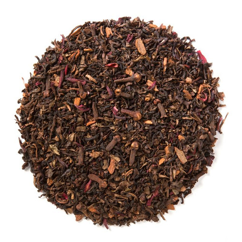 Decaffeinated Spiced Raspberry (Loose Leaf) combines the essence of ripe raspberries with aromatic spices and a robust base of decaffeinated black tea.  Decaffeinated teas go through a natural CO2 extraction process, also called effervescence. This process maintains tea flavor and antioxidant levels.  Ingredients: Organic decaffeinated black tea, organic cinnamon, organic cloves, natural flavor and organic hibiscus.  Taste: Full-bodied, cinnamon raspberry black tea brew, as rich as its caffeinated counterpart.  Origin: Cornucopia's organic decaffeinated teas are sourced from the Putharjhora Tea Garden in Darjeeling, India.