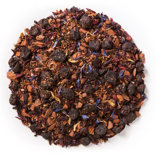 Spring Fruit & Flowers (Loose Leaf) is a fresh blend of spring fruits and flowers with a base of green rooibos.  Ingredients: Organic blueberries, organic hibiscus, organic green rooibos, organic cinnamon, natural flavor, organic calendula flowers and organic corn flowers.  Taste: Spring Fruit & Flowers (Loose Leaf) offers a light, floral flavor profile with a subtle berry finish.  Origin: organic rooibos from South Africa.