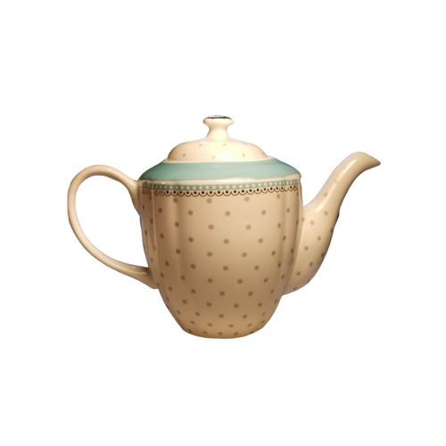 Gray Polka Dot Teapot Set: 9 PC set by Grace Teaware. Bright and cherry for everyday use with matching cream and sugar bowl, 2 cups and saucer.  Lovely to add to your collection and include in your tea time gatherings.   Includes:  16 oz. teapot, 2 cup and saucer, sugar bowl and creamer White and teal with a gray polka dot print with a silver trim on handles and lids and base Handwash Tea choices available to add to your order in the loose leaf shop  ships together in decorative tea packaging.