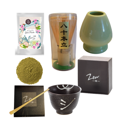 "Matcha Starter Kit by The Cornucopia Shop LLC  has everything required to master making Matcha tea, including a recipe guide for basic Matcha tea.  They'll feel totally Zen vibed after the first sip.   Includes:  1 oz of Cornucopia's Matcha Green Tea Powder, Zen Matcha Bowl (Kimi), Matcha Whisk (Chasen), Matcha Bamboo Spoon (Momoka), Porcelain Matcha Whisk Holder (Ingolf), Instructions to create the perfect Matcha cup .  Completed gift measures 10"" long by 10"" wide and 3"" tall and weighs 2 pounds.  This gift comes wrapped in cellophane and topped with a black raffia handmade bow."