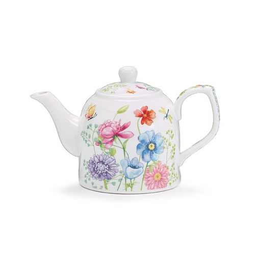 """Mixed Blooms Teapot -with Tea Gift Box, Absolutely must have for an afternoon Tea!   Includes:   Mixed Blooms Teapot Made of bone china Holds 12 oz. 3 3/4"""" x 4 3/4"""" W x 3 1/2"""" D Opening: 3 1/4"""" Dishwasher safe/FDA approved/Microwave safe. Come gift wrapped in a white box and Teal Bow"""