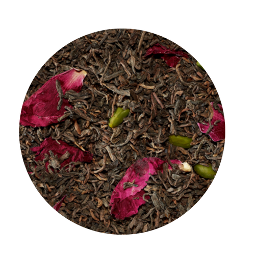 This strongly spicy and earthy tea blend has found a perfect partner in the wonderfully nutty pistachio. The optic is ennobled by shining peony petals and the crunchy pistachios put an oriental touch to this creation.  Ingredients: black tea Pu Erh (93%), pistachios, flavoring, peony petals  Taste: Earthy rich flavor with hint of pistachios and a light floral lift of peony petals will awaken your senses and renew your taste buds with this exquisite tea.    Origin: Hunan Provence China