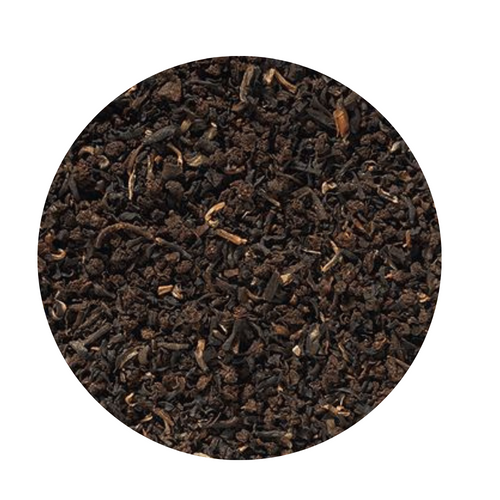 English Breakfast Black Tea (Loose Leaf): Select broken teas from Assam and other origins form the base of our breakfast composition of controlled organic cultivation. It is equally powerful and aromatic and shows a dark, copper-brown cup with a full, spicy bouquet.  Ingredients: Black tea,  from organic cultivation  Taste: A very highyielding tea blend which can surely compete with some of the East Frisian Blends. Milk or cream, as well as a couple of pieces of rock sugar are the perfect supplement for this blend.