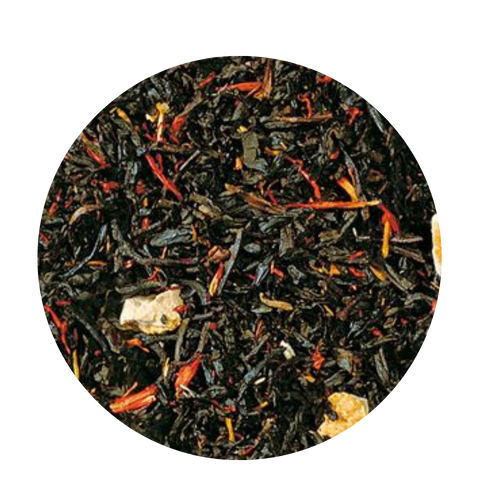Blood Orange Black Tea (Loose Leaf): This mild China-Ceylon black tea blend will remind you of the colorful Caribbean thanks to the light-yellow orange peel and orange-red blazing safflower.   Ingredients: Black tea (92 %), orange peel, natural blood orange flavoring, safflower  Taste: This tea creation has been ennobled by the natural flavor of a sweet, firm, fresh and tangy fruit from Italy. The typical red color of the firm flesh of sun-ripened blood oranges, which results from frosty nights shortly before harvesting, is the first thought that enters your mind with the first sip. The second thought is a warm summer evening in the South. There are no limits to your imagination while enjoying with this refreshing, tangy, fruity drink!