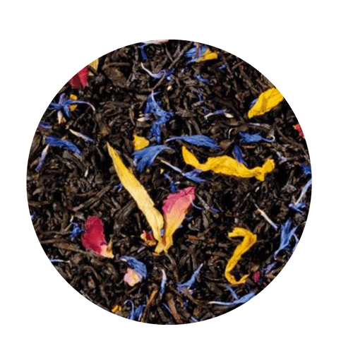 South Sea Magic/Mango Black Tea (Loose Leaf): The South Sea - home of many exotic, shiny fruits and scents. This extraordinary composition captures the magic of the faraway, dreamlike, sunny places of this world, which are the origin of our dreams.   Ingredients: black tea, flavoring, rose petals, sunflower blossoms, cornflower blossoms  Taste: The blazing colors of the added blossoms and the sweet fruit pieces remind you of the colorful South, and the taste of refreshing mango, passionfruit and papaya is like a trip from our hectic day into warmer places. An irresistible taste experience!
